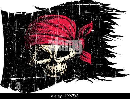 Pirate Flag. Vector Illustration. - Stock Photo