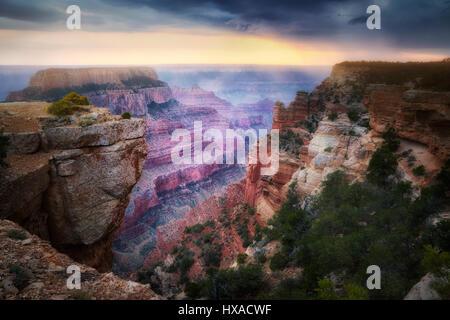 Shaft of light shining through thunderstromon on  Wotons Throne. Cape Royal. Grand Canyon National Park, Arizona - Stock Photo