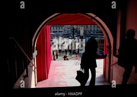AJAXNETPHOTO. PARIS, FRANCE. - TRAIN STATION - SIDE ENTRANCE TO GARE SAINT LAZARE MAIN RAIL STATION LOOKING OUT - Stock Photo