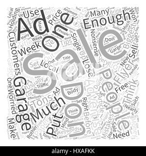 Garage Sale Advertising How To Get Tons Of Customers For Nearly Free Word Cloud Concept - Stock Photo