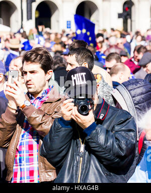 Westminster, Central London, UK, 25th March 2017. Thousands of Unite for Europe supporters march on Parliament. - Stock Photo