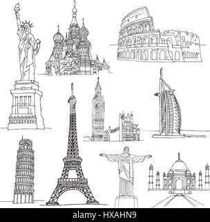 Sketches of Famous Places. - Stock Photo