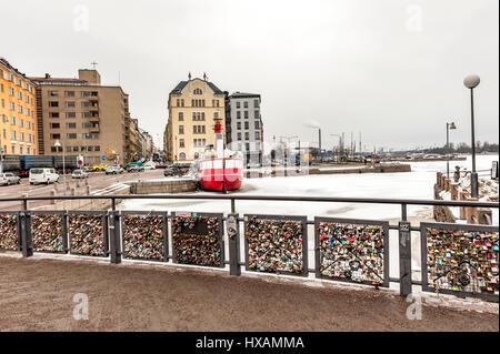 Bridge of love, Helsinki - Stock Photo