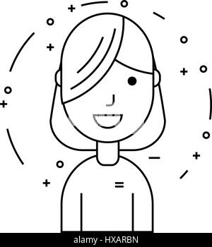 Smiling girl character with long forelock - Stock Photo