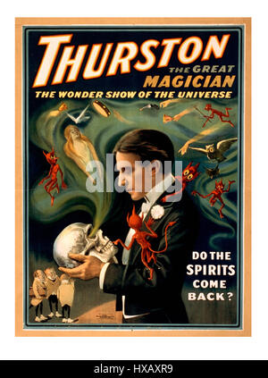 Howard Thurston renowned magician, Vintage Magic Poster c1900's 'do the spirits come back ?' - Stock Photo