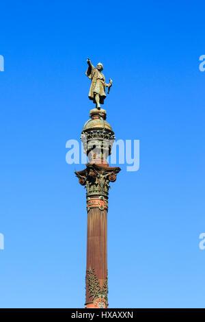 Mirador de Colom, Christopher Colombus monument, Barcelona, Catalunya, Spain - Stock Photo