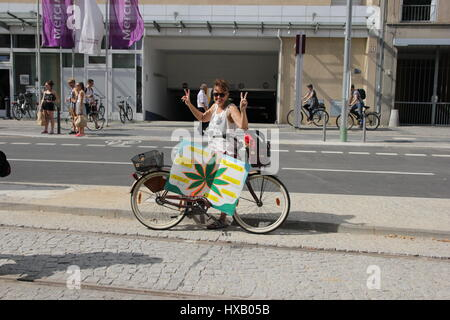 Berlin, Germany, August 9th, 2014: Hemp parade rally held for legalisation of cannabis. - Stock Photo