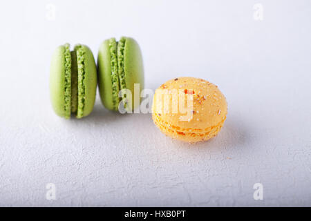 Almond cookies French macaroons - Stock Photo