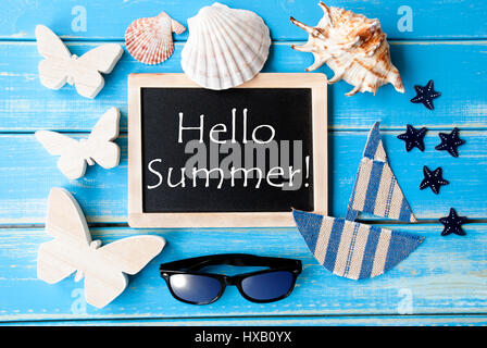 ... Blackboard With Maritime Decoration And Text Hello Summer   Stock Photo