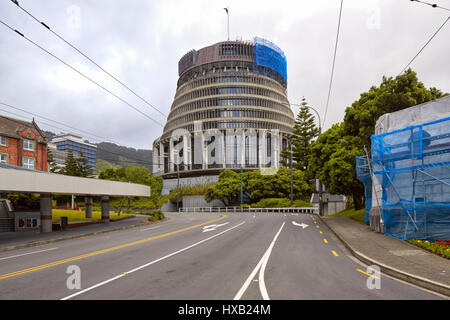 Parliament building (beehive), Wellington, New Zealand - Stock Photo
