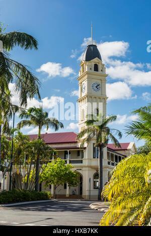 The Bundaberg Post Office and clock tower building on Bourbong and Barolin Streets.  Bundaberg, Queensland, Australia - Stock Photo
