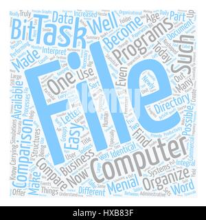 How To Compare File And Directory Systems And Why text background wordcloud concept - Stock Photo