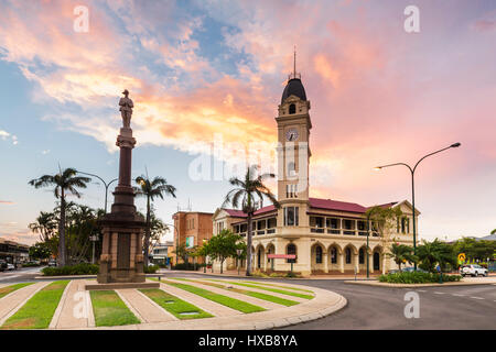 Sunset view of the Bundaberg Post Office and clock tower.  Bundaberg, Queensland, Australia - Stock Photo
