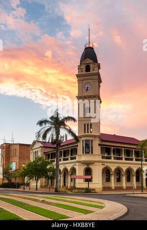 Sunset view of the Bundaberg Post Office and clock tower.  Bundaberg, Queensland, Australia - Stock Photo