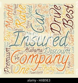 How To Get The Best Rates On Car Insurance In Alabama text background wordcloud concept - Stock Photo