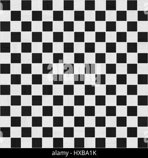 black and white wood checker tile seamless texture - Stock Photo