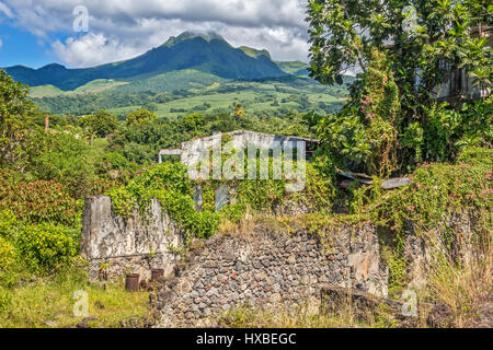 Volcano Pelee, Above, Old Town, Ruins, St Pierre, Martinique, West Indies - Stock Photo