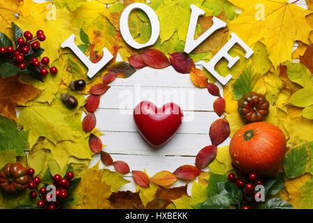 autumn leaves background shape round - Stock Photo