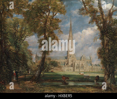 Salisbury Cathedral from the Bishop's Grounds by John Constable - Stock Photo