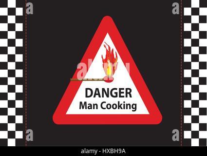 symbol or sign saying danger man cooking - Stock Photo