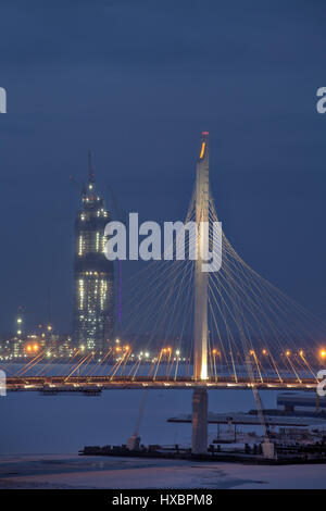 Saint-Petersburg, Russia - January 2, 2017: Building Skyscraper Gazprom Office, The Lakhta Tower is touted to become - Stock Photo