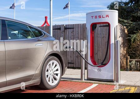 tesla car tesla charging tesla model s charging tesla supercharging tesla supercharger - Stock Photo