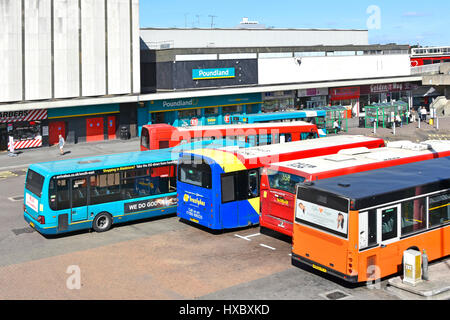 Harlow new town Essex UK looking down on poundland store town centre   public transport bus station bus stop people - Stock Photo