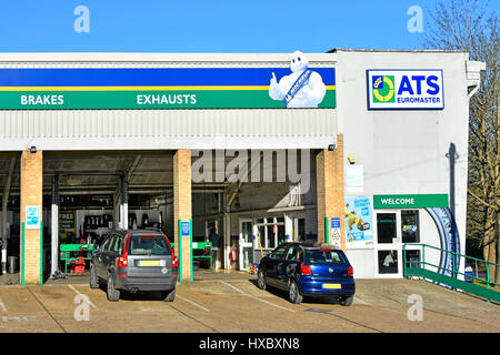 Part of ATS Euromaster auto motoring car garage facility for fitting tyre brakes & exhaust services puncture repairs - Stock Photo