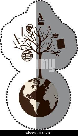 monochrome sticker of world with tree of knowledge - Stock Photo