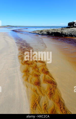 Patterns in a tannin-stained creek flowing into the sea at Abraham's Bosom Reserve, Currarong, Jervis Bay, Shoalhaven, - Stock Photo