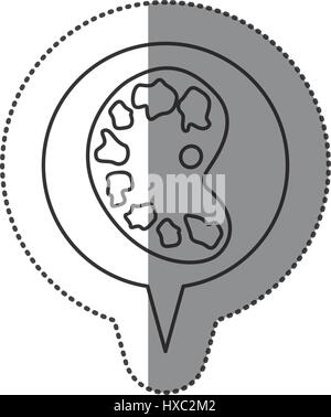 monochrome contour sticker with art palette icon in circular speech - Stock Photo