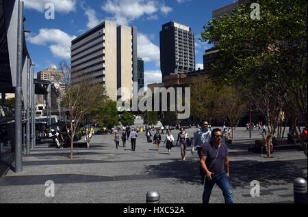 Brisbane, Australia: Pedestrians in King George Square - Stock Photo