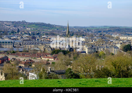 A landscape view of the streets,buildings and churches of the Citty of Bath as you look down from Bathwick Hill. - Stock Photo