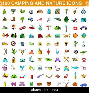 100 camping icons set, cartoon style  - Stock Photo