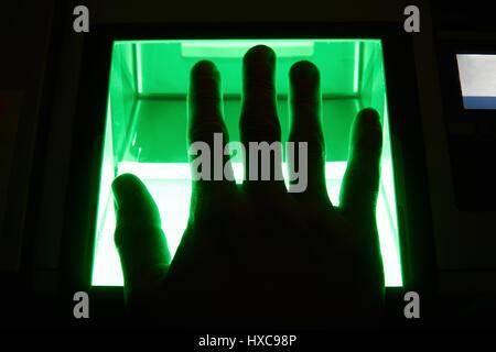 cybersecurity digital fingerprint scanning - Stock Photo