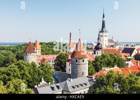 Historical old town of Tallinn, capital of Estonia - Stock Photo