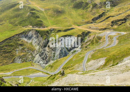 Image of a winding road that climbs to Col du Tourmalet on the from North-West in Pyrenees Mountains. - Stock Photo