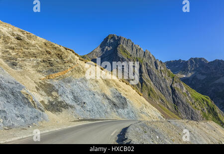 Road climbing to Col du Tourmalet in Pyrenees Moutnains,France - Stock Photo