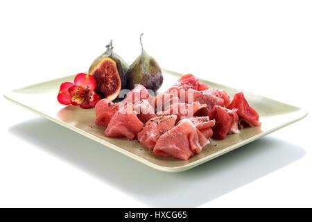 Ham with fig, Schinken mit Feige - Stock Photo