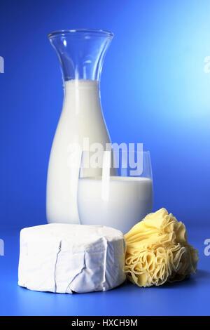 Fresh milk with cheese, Frische Milch mit Kaese - Stock Photo