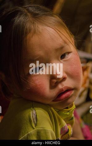 Taiga Girls, Tsatan Camp, Tsagaanuur, Mongolia - Stock Photo