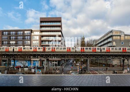 HAMBURG, GERMANY - JANUARY 15, 2017 - Baumwall Promenade with Gruner & Jahr publishing building (in the background - Stock Photo