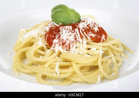 Spaghetti with tomato sauce, Spaghetti mit Tomatensauce - Stock Photo