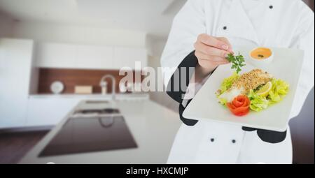 Digital composite of Chef with plate of food against blurry kitchen - Stock Photo