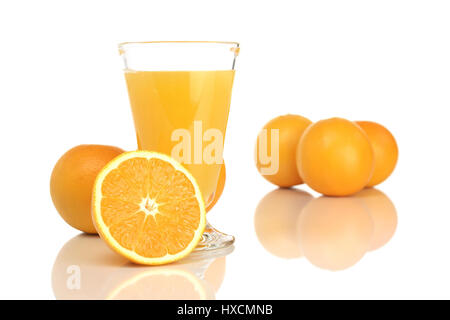 Glass with orange juice and oranges, Glass with orange juice and oranges |, Glas mit Orangensaft und Orangen |Glass - Stock Photo