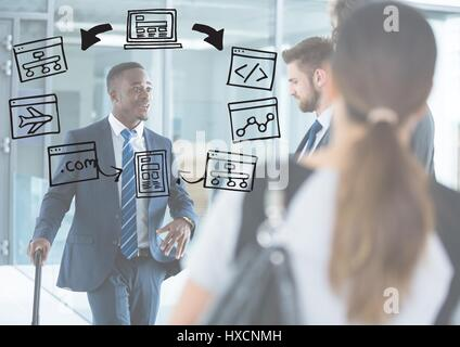 Digital composite of Business people with white overlay and business doodles - Stock Photo