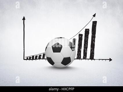 Digital composite of 3D Football with rising incremental chart drawings on white background - Stock Photo