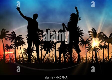 Digital composite of Silhouettes of jumping family  with suitcase against sunset view with palm trees - Stock Photo