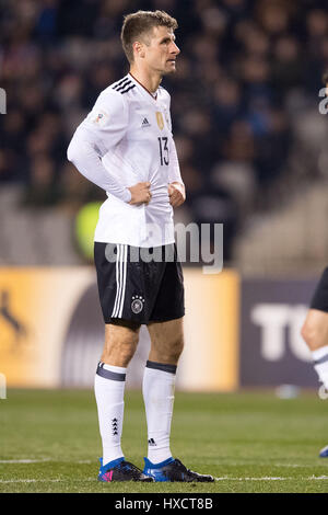 Baku, Azerbaijan. 26th Mar, 2017. Germany's Thomas Mueller during the FIFA World Cup qualifier group phase soccer - Stock Photo