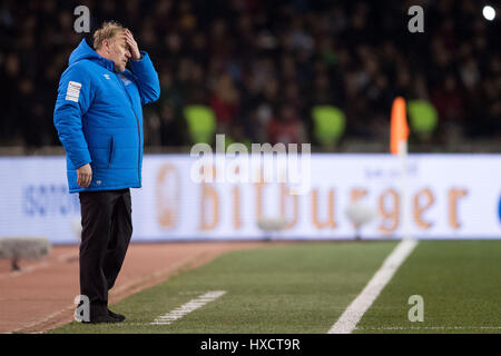 Baku, Azerbaijan. 26th Mar, 2017. Azerbaijan's headcoach Robert Prosinecki during the FIFA World Cup qualifier group - Stock Photo